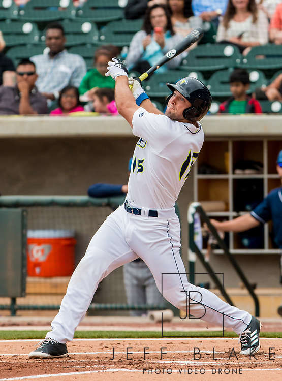 Columbia Fireflies left fielder Tim Tebow during a game at Spirit Communications Park on April 25, 2017. Photo by Jeff Blake/Jeff Blake Photography