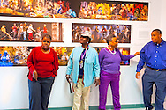 "Artist Reception for Seeing with Photography Collective SWPC, a group of visually impaired, sighted and totally blind photographers based in NYC, on Saturday, April 28, 2012, at African American Museum, Hempstead, New York, USA. Photographers included (left to right): Tameka Cooper, Victorine Floyd Fludd, Marion Sheppard, and Hasheem Kirkland. Exhibit hosted by Long Island Center of Photography. Aperture published the group's ""Shooting Blind: Photographs by the Visually Impaired"" in 2005."