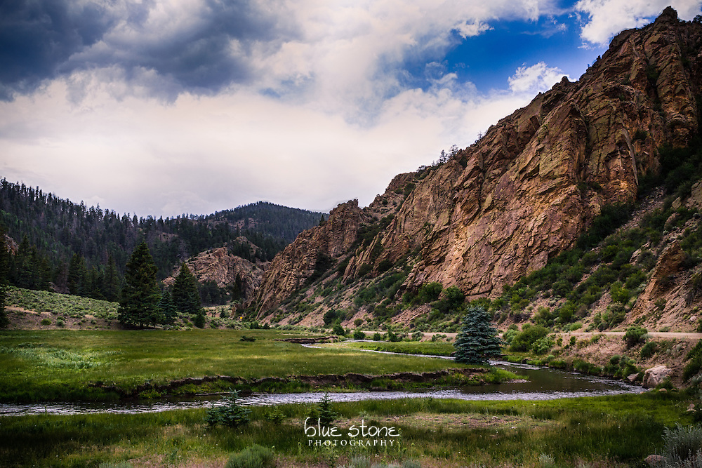 The juxtaposition of a rugged mountain near a wandering creek and open meadow highlights the contrasts of the southwest landscape.<br />