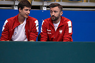 Sopot, Poland - 2018 April 08: (L) Hubert Hurkacz and (R) Michal Przysiezny both from Poland talk to each other while Men's Single Match Nr 4 during Poland v Zimbabwe Tie Group 2, Europe/Africa Second Round of Davis Cup by BNP Paribas at 100 years of Sopot Hall on April 08, 2018 in Sopot, Poland.<br /> <br /> Mandatory credit:<br /> Photo by © Adam Nurkiewicz / Mediasport<br /> <br /> Adam Nurkiewicz declares that he has no rights to the image of people at the photographs of his authorship.<br /> <br /> Picture also available in RAW (NEF) or TIFF format on special request.<br /> <br /> Any editorial, commercial or promotional use requires written permission from the author of image.