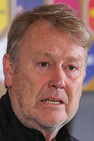 CLUJ-NAPOCA, ROMANIA, MARCH 26: Denmark's national soccer team head coach Aage Hareide pictured at the press conference before the 2018 FIFA World Cup qualifier soccer game between Romania and Denmark, on March 25, at Cluj Arena Stadium, in Cluj-Napoca, Romania. (Photo by Mircea Rosca/Getty Images)
