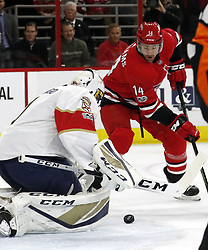 November 7, 2017 - Raleigh, NC, USA - The Carolina Hurricanes' Justin Williams (14) has his shot stopped by the Florida Panthers' Roberto Luongo (1) during the first period at PNC Arena in Raleigh, N.C., on Tuesday, Nov. 7, 2017. (Credit Image: © Chris Seward/TNS via ZUMA Wire)