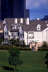 Stock photo of urban neighborhood townhomes