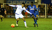 Toby Sibbick challenging Jake Clarke Salter during the FA Youth Cup match between U18 AFC Wimbledon and U18 Chelsea at the Cherry Red Records Stadium, Kingston, England on 9 February 2016. Photo by Michael Hulf.