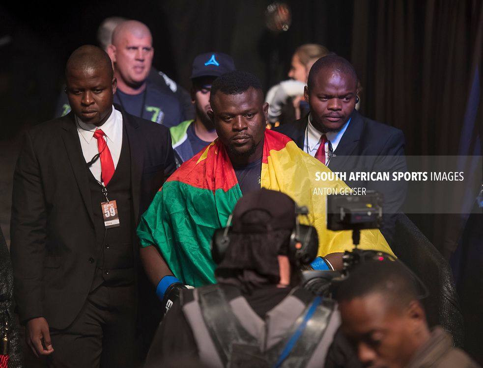 JOHANNESBURG, SOUTH AFRICA - MAY 13: Nico Yamdjie enters the arena during EFC 59 Fight Night at Carnival City on May 13, 2017 in Johannesburg, South Africa. (Photo by Anton Geyser/EFC Worldwide/Gallo Images)