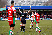 Keighley Cougars scrum half Matty Beharrell (7) is sent to the sin bin after a spear tackle on Bradford Bulls second row Elliot Minchella (12)  during the Betfred League 1 match between Keighley Cougars and Bradford Bulls at Cougar Park, Keighley, United Kingdom on 11 March 2018. Picture by Simon Davies.