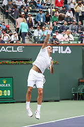 March 10, 2019 - Indian Wells, CA, U.S. - INDIAN WELLS, CA - MARCH 10: Roger Federer (SUI) serves during the BNP Paribas Open on March 10, 2019 at Indian Wells Tennis Garden in Indian Wells, CA. (Photo by George Walker/Icon Sportswire) (Credit Image: © George Walker/Icon SMI via ZUMA Press)