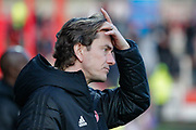 Brentford head coach Thomas Frank during the EFL Sky Bet Championship match between Brentford and Bolton Wanderers at Griffin Park, London, England on 22 December 2018.