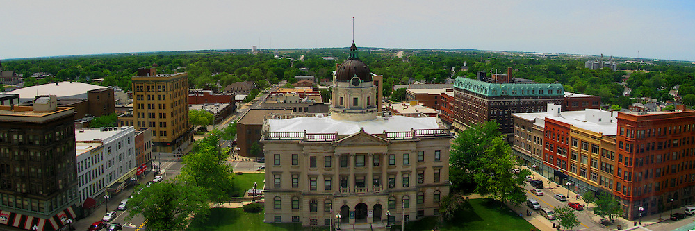 05 June 2014:   Downtown Bloomington. Old Courthouse Square from 13th floor Audiorium of State Farm Insurance Building This image was produced in part utilizing High Dynamic Range (HDR) or panoramic stitching or other computer software manipulation processes. It should not be used editorially without being listed as an illustration or with a disclaimer. It may or may not be an accurate representation of the scene as originally photographed and the finished image is the creation of the photographer.