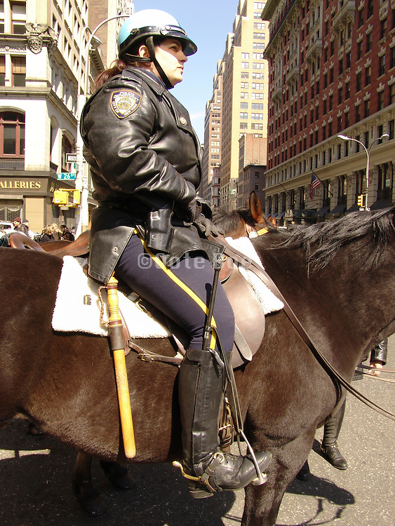 Mounted police woman on horseback New York City.