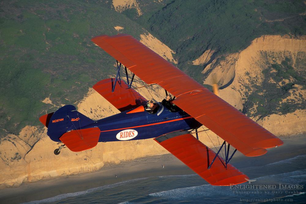BiPlane over Torrey Pines State Reserve+Northern San Diego Coastline San Diego County, CALIFORNIA