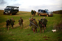 UK ENGLAND GRANTHAM 15DEC11 - the guns return to their vehicles after the pheasant shooting at the Belvoir Castle Estate in Leicestershire, England.<br /><br />jre/Photo by Jiri Rezac<br /><br /> <br /> <br /> <br /> © Jiri Rezac 2011