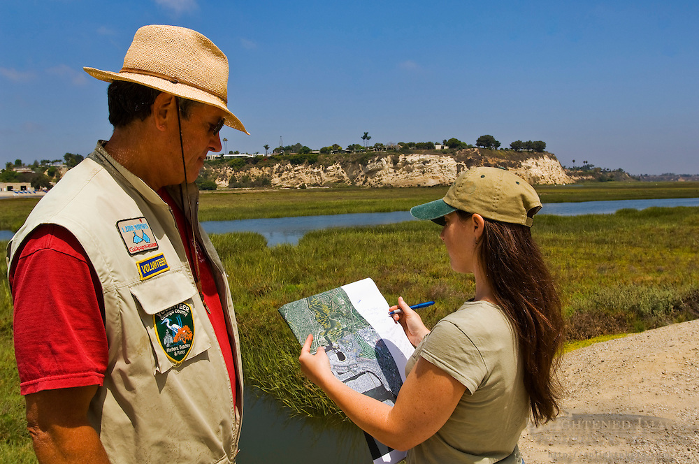 Volunteer scientists conduct survey at Upper Newport Bay Ecological Reserve, Newport Beach, Orange County, California
