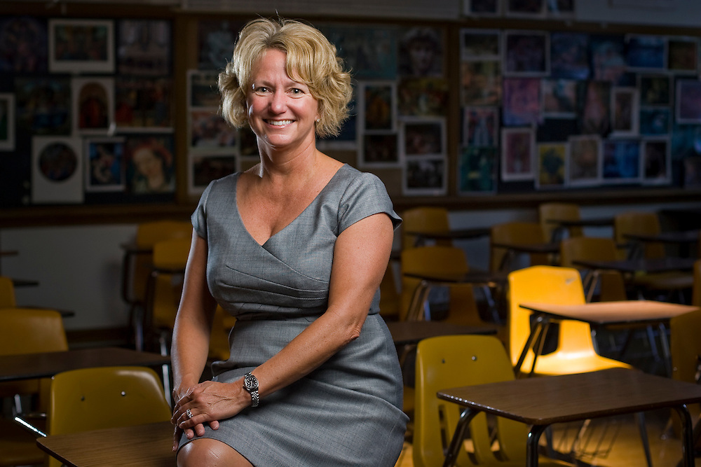 Kristin Waters, Ph.D., Denver Public Schools Assistant to the Superintendent for Reform and Innovation, poses for a portrait at South High School in Denver, Friday, June 18, 2010. Waters, who earned her doctorate from the University of Denver's Morgridge College of Education in 2006, turned around Bruce Randolph School from one of the lowest performing schools in the state during her time as principal.