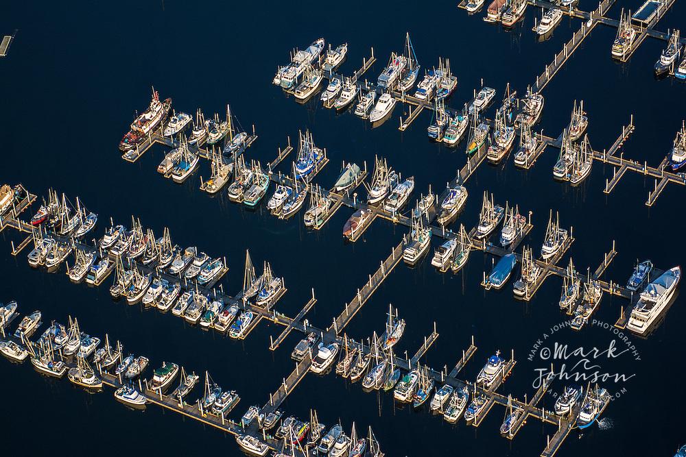 Aerial view of boats in Sitka, Baranof Island, Alexander Archipelago, Southeast Alaska, USA