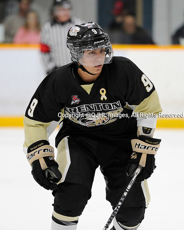 TRENTON, ON - Sep 19, 2014 : Ontario Junior Hockey League game action between Stouffville and Trenton, Christian DiFelice #9 of the Trenton Golden Hawks Hockey Club during the second period<br /> (Photo by Amy Deroche/ OJHL Images)