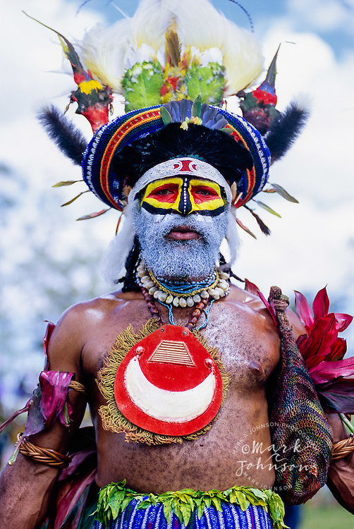 Mount Hagen, Papua New Guinea --- Performers wear traditional costumes and face paint while performing during the Mount Hagen Cultural Show.
