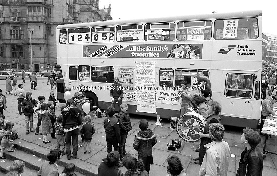 Sheffield Celebrated Street Band. Cheap Bus Fares Festival. Sheffield.