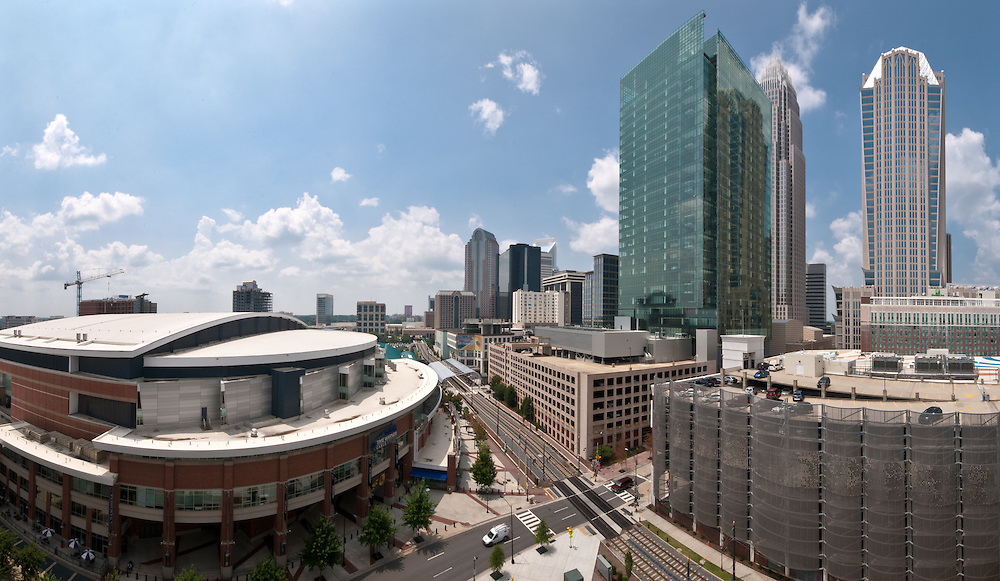Time Warner Arena and the LYNX Light Rail anchor the Charlotte, NC cityscape.