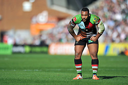 Jordan Turner-Hall (Harlequins) looks on - Photo mandatory by-line: Patrick Khachfe/JMP - Tel: Mobile: 07966 386802 29/03/2014 - SPORT - RUGBY UNION - The Twickenham Stoop, London - Harlequins v London Irish - Aviva Premiership.