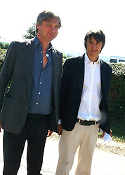 Left to right, the MARQUESS OF WORCESTER (Henry Somerset) and his son The EARL OF GLAMORGAN s at the wedding of musician Jools Holland to Lady Crystabel Durham held at Cooling Village Church, Cooling, Kent on 30th August 2005.<br />