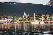 The Arctic Cathedral, Tromso, Norway architect Jan Inge Hovig completed 1965 midnight summer sun