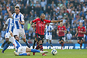 Southampton midfielder Nathan Redmond (22) is tackled by Brighton and Hove Albion defender Martin Montoya (22) during the Premier League match between Brighton and Hove Albion and Southampton at the American Express Community Stadium, Brighton and Hove, England on 30 March 2019.