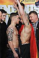 Picture by Ramsey Cardy/Focus Images Ltd +44 7809 235323.08/02/2013.Frampton v Martinez face off for their EBU Super-Bantamweight Title fight in Odyssey Arena, Belfast.