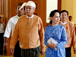 Myanmar's new president U Htin Kyaw (L, front) and Chairperson of Myanmar's ruling National League for Democracy (NLD) Aung San Suu Kyi (R, front) arrives to attend a session of Myanmar Union Parliament in Nay Pyi Taw, Myanmar, March 30, 2016. EXPA Pictures © 2016, PhotoCredit: EXPA/ Photoshot/ U Aung<br /> <br /> *****ATTENTION - for AUT, SLO, CRO, SRB, BIH, MAZ, SUI only*****