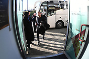 Forest Green manager Mark Cooper  gets off the coach during the EFL Sky Bet League 2 match between Northampton Town and Forest Green Rovers at the PTS Academy Stadium, Northampton, England on 14 December 2019.
