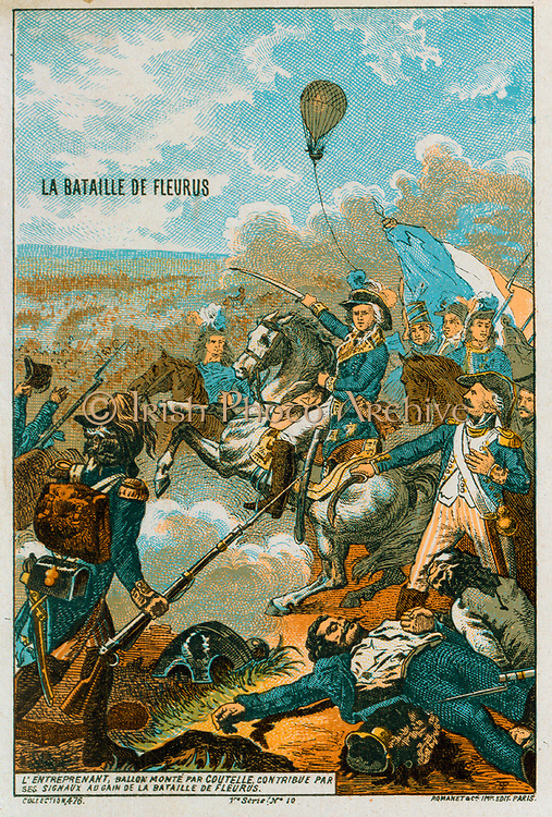 Battle of Fleurus 26 June 1794, French Revolutionary Wars. Use of 'The Entreprenant' as  reconnaissance balloon the first use  of a balloon in warfare, contributed to French victory.  Prunt c1883.  Aeronautics Aviation Ballooning