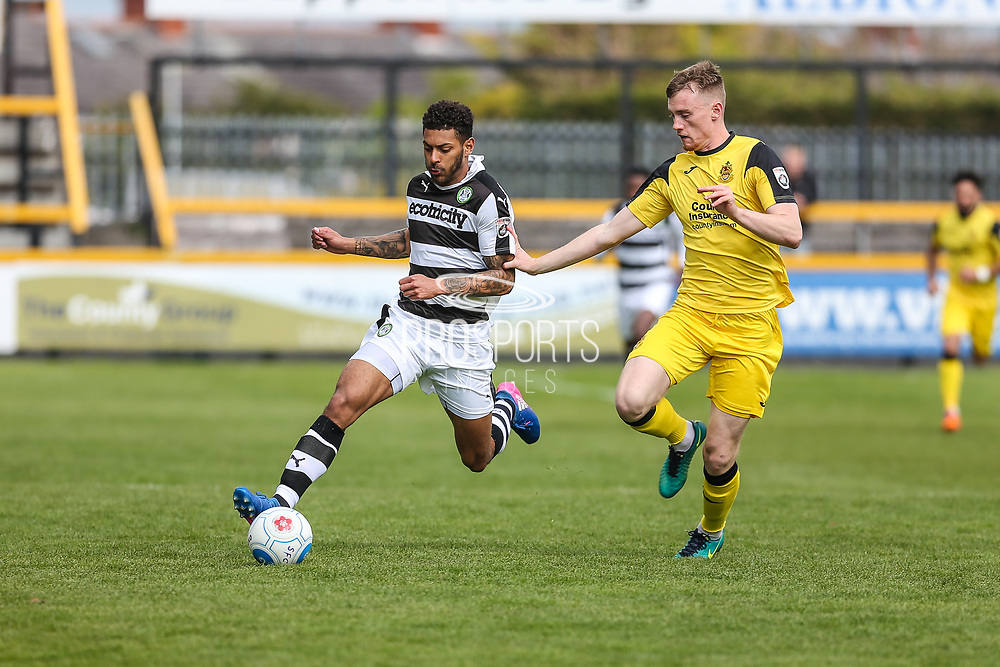 Forest Green Rovers Kaiyne Woolery(14) sprints forward during the Vanarama National League match between Southport and Forest Green Rovers at the Merseyrail Community Stadium, Southport, United Kingdom on 17 April 2017. Photo by Shane Healey.
