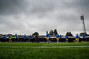 Oxford United players warm up during the EFL Sky Bet League 1 match between Southend United and Oxford United at Roots Hall, Southend, England on 6 October 2018.