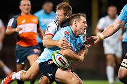 March 23, 2019 - Sydney, NSW, U.S. - SYDNEY, NSW - MARCH 23: Crusaders player Quinten Strange (4) hits Waratahs player Bernard Foley (10) with a big tackle at round 6 of Super Rugby between NSW Waratahs and Crusaders on March 23, 2019 at The Sydney Cricket Ground, NSW. (Photo by Speed Media/Icon Sportswire) (Credit Image: © Speed Media/Icon SMI via ZUMA Press)