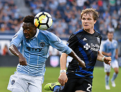 Sporting Kansas City forward Gerso, left, directs the ball past San Jose Earthquakes midfielder Florian Jungwirth in the first half during the U.S. Open Cup semifinals at Children's Mercy Park in Kansas City, Kan., on Wednesday, Aug. 9, 2017. (Photo by John Sleezer/Kansas City Star/TNS/Sipa USA) *** Please Use Credit from Credit Field ***