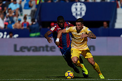 November 5, 2017 - Valencia, Valencia, Spain - Adam Benitez (R) of Girona FC competes for the ball with Lerma of Levante UD during the La Liga match between Levante UD and Girona FC at Ciutat de Valencia stadium on November 5, 2017 in Valencia, Spain  (Credit Image: © David Aliaga/NurPhoto via ZUMA Press)