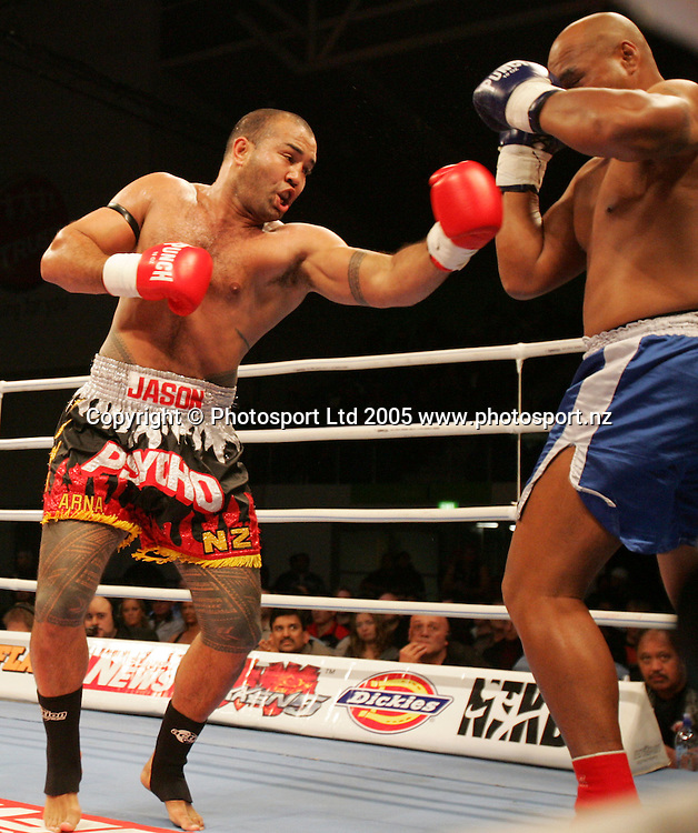 Jason Suttie punches Matt Samoa (R) in the K1 Oceania Circuit at Waitakere Stadium, Henderson, New Zealand on Saturday July 30, 2005. Photo: Hannah Johnston/PHOTOSPORT<br />