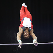 Joshua Dixon, U.S.O.T.C. in action on the Horizontal bar during the Senior Men Competition at The 2013 P&G Gymnastics Championships, USA Gymnastics' National Championships at the XL, Centre, Hartford, Connecticut, USA. 16th August 2013. Photo Tim Clayton