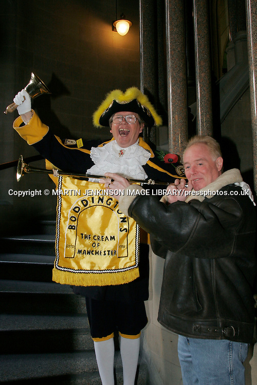 Blackpool 's Town Crier Barry McQueen joins actor Bruce Jones, Les Battersby in Coronation Street, in supporting the TGWU campaign to save Boddington's brewery....