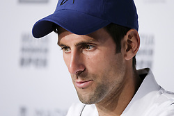 May 7, 2018 - Madrid, Spain - Novak Djokovic press conference during day three of the Mutua Madrid Open tennis tournament at the Caja Magica on May 7, 2018 in Madrid, Spain. (Credit Image: © Oscar Gonzalez/NurPhoto via ZUMA Press)
