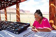 Navajo Woman Selling her art Roadside in AZ