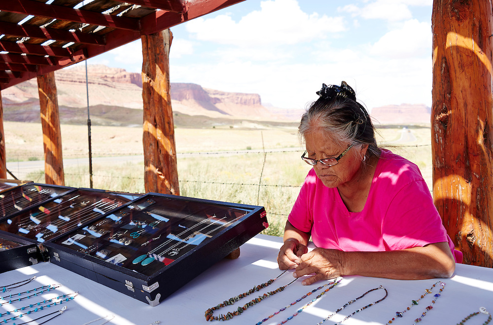 Navajo Woman Selling her art Roadside in AZ