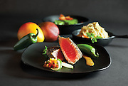 Mango Jalapeno Ahi Tuna dish from Kai restaurant located in Springfield, MO. Photo by Brandon Alms Photography