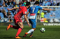 March 11, 2018 - Barcelona, Catalonia, Spain - Gerard Moreno and De La Bella during the match between RCD Espanyol and Real Sociedad, for the round 28 of the Liga Santander, played at the RCD Espanyol Stadium on 11th March 2018 in Barcelona, Spain. (Credit Image: © Joan Valls/NurPhoto via ZUMA Press)