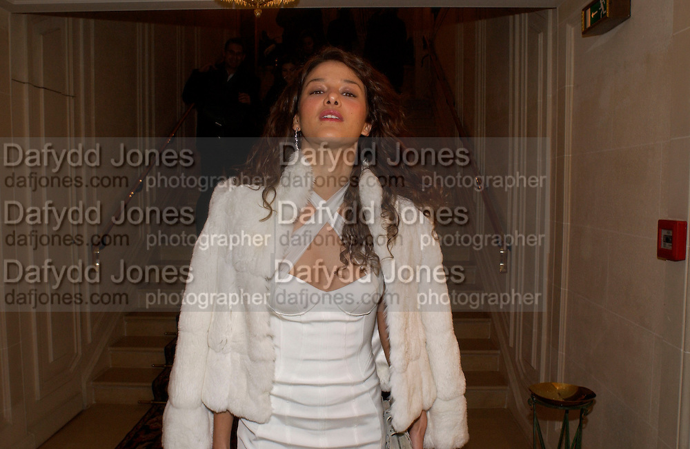 Maria Boudera, Versace Haute couture fashion show at the Ritz,  and after party.  19 January 2004. © Copyright Photograph by Dafydd Jones 66 Stockwell Park Rd. London SW9 0DA Tel 020 7733 0108 www.dafjones.com