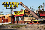 Hurricane Michael damaged  Waffle House in Callaway, Florida. How quickly Waffle Houses re-open is an unofficial measurement of the severity of a storm.
