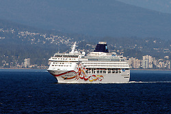 Norwegian Sun cruise ship operated by Norwegian Cruise Lines, Vancouver Harbor, Vancouver, British Columbia, Canada