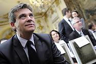 Arnaud Montebourg, Ministre du Redressement Productif Lors de la conférence de presse de présentation des premiers lauréats du Concours Mondial d'innovation, le 20 mars 2014 à l'Hôtel Matignon.