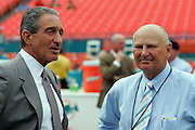 MIAMI - NOVEMBER 6:  Atlanta Falcons team owner Arthur M. Blank (left) talks to Miami Dolphins team owner H. Wayne Huizenga during pregame warmups on November 6, 2005 at Dolphins Stadium in Miami, Florida. The Falcons defeated the Dolphins 17-10. ©Paul Anthony Spinelli *** Local Caption *** Arthur M. Blank;H. Wayne Huizenga