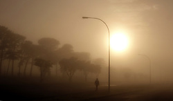 South Africa - Cape Town - 010520.  A lone figure took a stroll along Frans Conradie Drive in Parow West just before 7am on the first day of the Level Four lockdown restrictions which allow walking, excercise or jogging between 6am and 9am. Picture: Ian Landsberg/African News Agency (ANA).